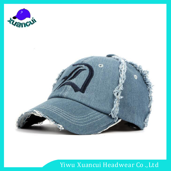 Design your own embroidery logo washed old style summer sun cap worn out denim baseball cap