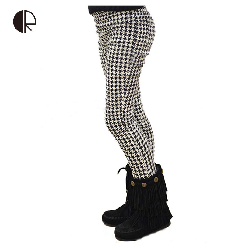 Free shipping 2014 autumn new arrival children Leggings Houndstooth skinny pants elastic waist KP070