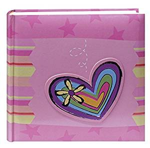 Pioneer Photo Albums 200-Pocket 3-D Striped Heart Applique Cover Photo Album, 4 by 6-Inch by Pioneer Photo Albums