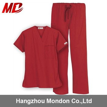 Nonwoven Disposable Medical nurse uniform red