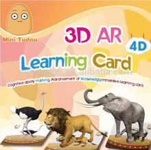 Minitudou 2016 Intelligence Toys Magic 3D 4D AR Learning Educational learning Cards For Kids