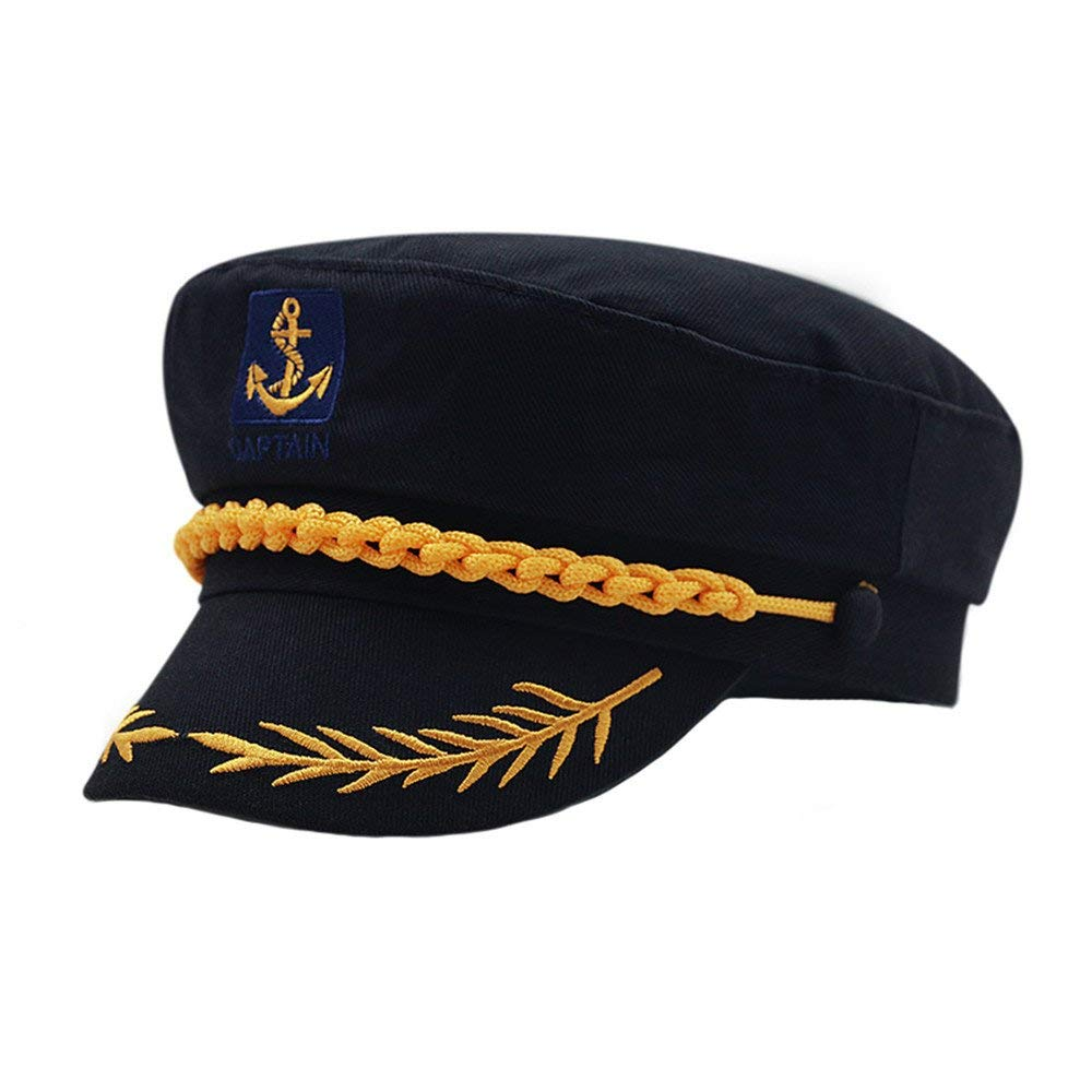 86f0fa75330 Get Quotations · doublebulls hats Fitted Army Cap Men Women Captain Hats  Retro Embroidery Flat Caps Sun Hat