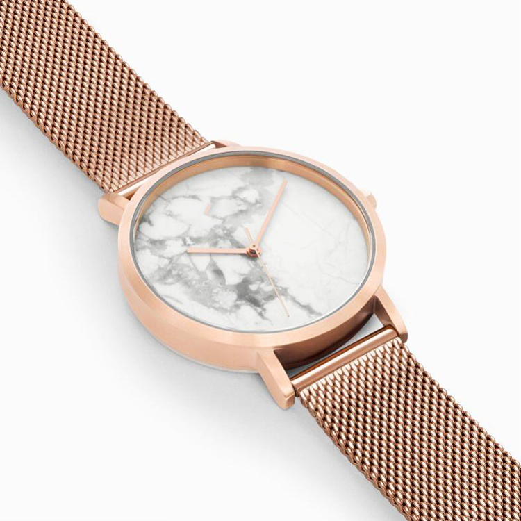 Custom International Brand Marble Dial Watch Ultra Thin Women Quartz Wrist Watch