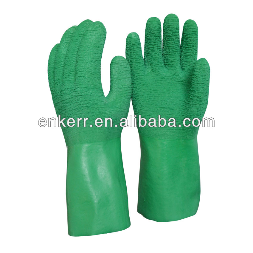 ENKERR green latex fully coated long cuff chemical and oil resistant gloves