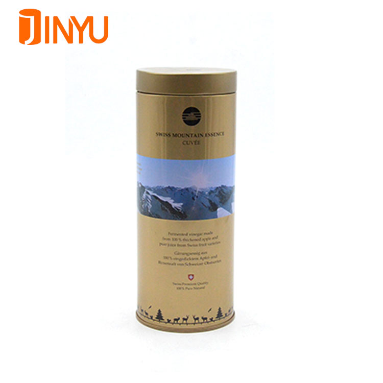 Customized wholesale drink tin can metal round wine packing tin box