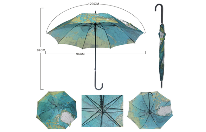 42 Inch Green Long Handle Umbrella For Unisex Outdoor Arc