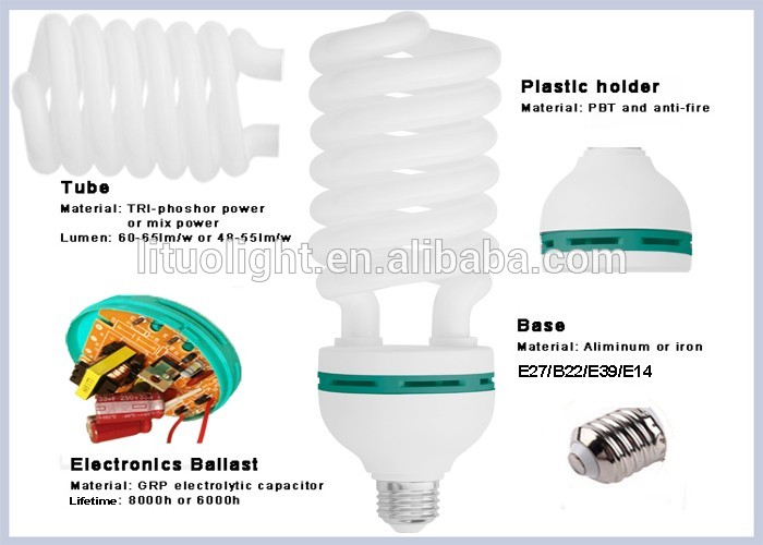 Cheap price 6 turns 17MM 80W Half Spiral energy saving lamp From Alibaba Supplier