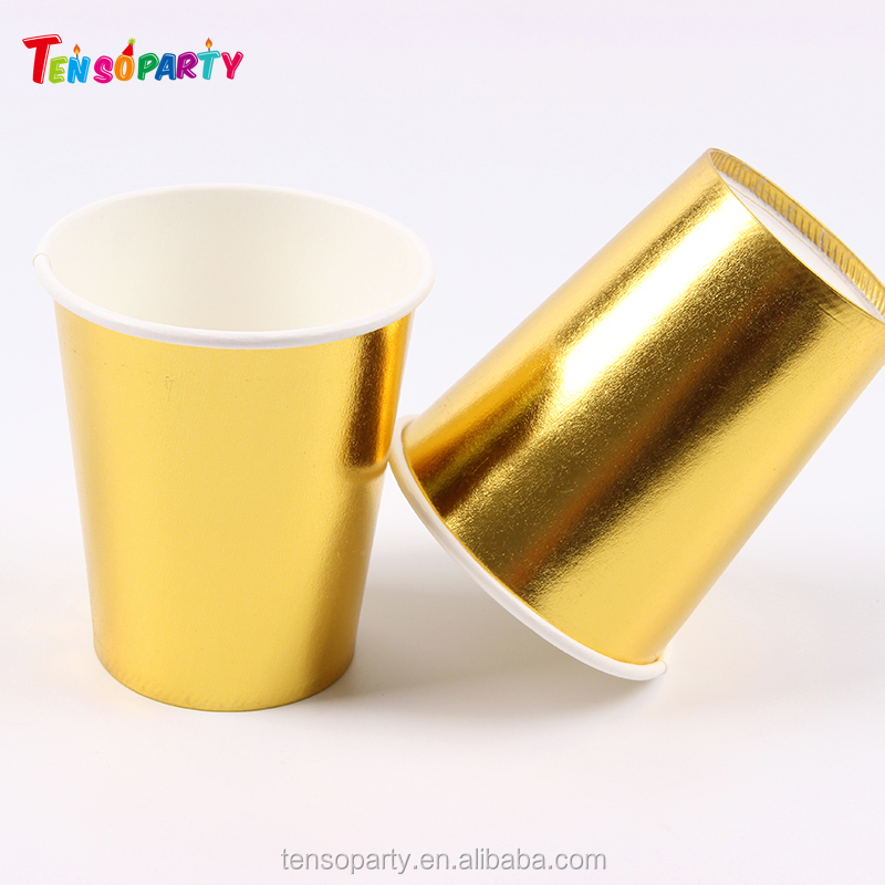 Customized printed disposable gold paper coffee cups & hot drink cup for Paper Party Cup