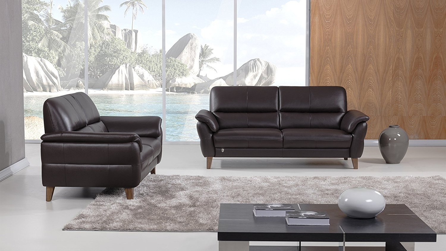 American Eagle Furniture 2 Piece King Collection Complete Living Room Top Grain Italian Leather Sofa Set, Dark Chocolate