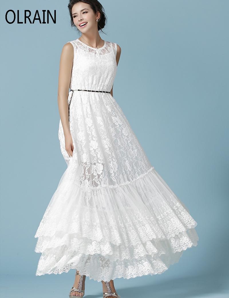 Olrain Women Fashion Elegant White Large Swing Lace Dress ...