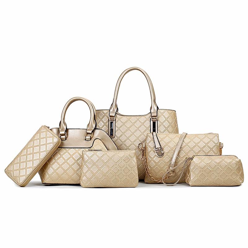 16d967d6d7d8 2017 handbag Newly designed Plaid Bag six bags in one set women bags  handbags