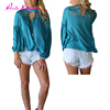 New pattern blue lace stitching hollow blouse seamless t shirts free samples