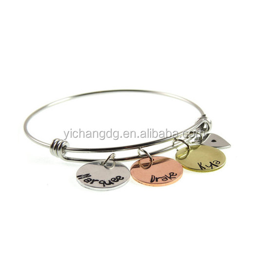 Wholesale Kids Jewelry, Stainless Steel Family Jewelry Mother Children Names Charm Bangle