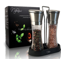 Salt & Pepper Grinder Shaker Mill Set with Caddy -- Brushed Stainless Steel, Large, Tall Glass