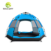 Big hexagonal double door orange and blue color sun protection large family automatic camping tent outdoor