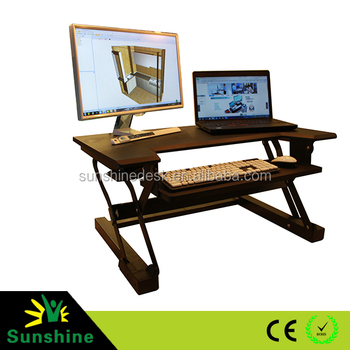 Lifting Assist Mechanism Black Finish Height Adjustable Sit Stand Desk With  Retractable Keyboard Tray   Buy Sit Stand Desk,Adjustable Stand Up ...