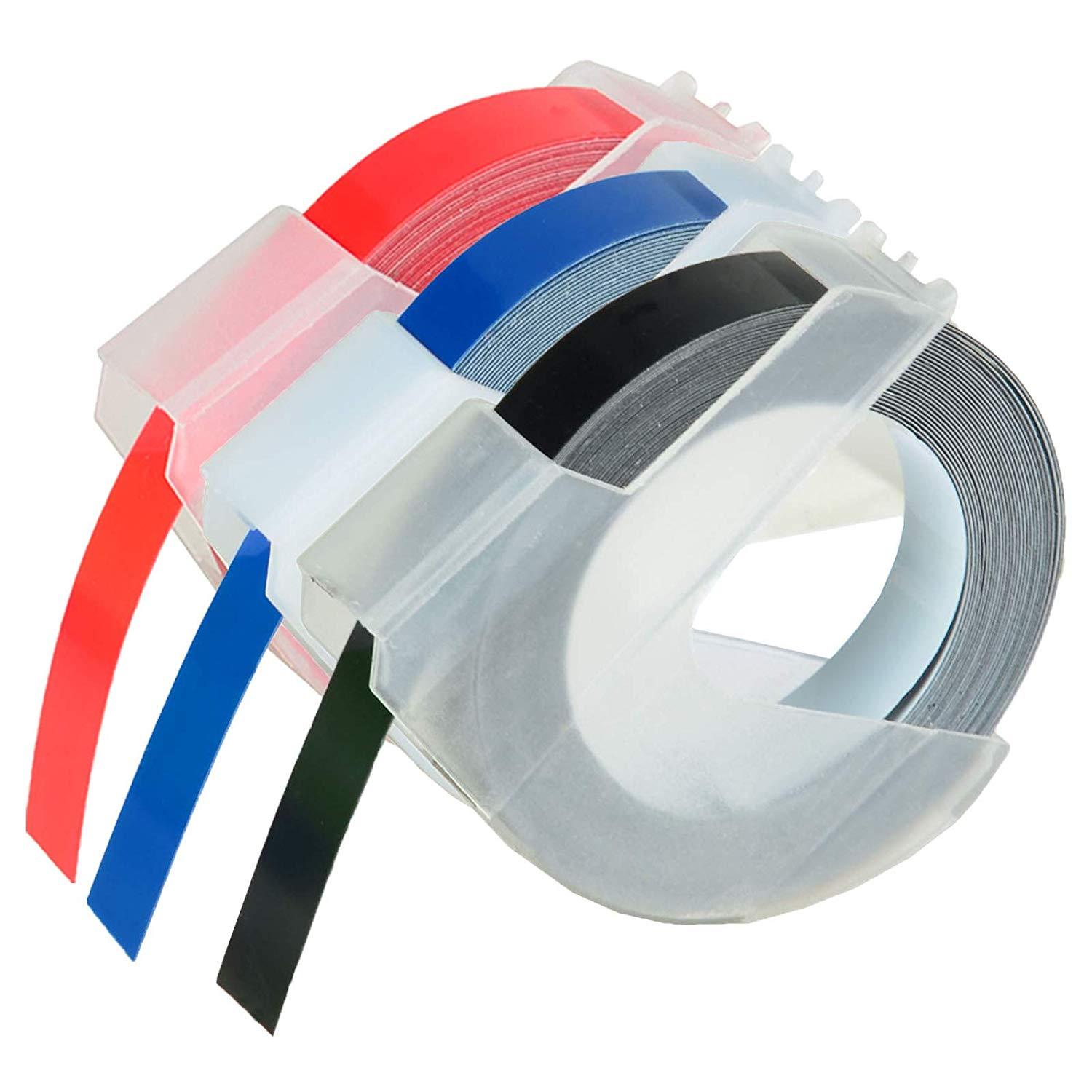 fd87105a9a58e0 KCYMTONER 3 roll Pack Replace DYMO 3D Plastic Embossing Labels Tape for  Embossing White on Red Blue Black 3 8   x 9.8  9mm x 3m 520102 520106  520109 for ...