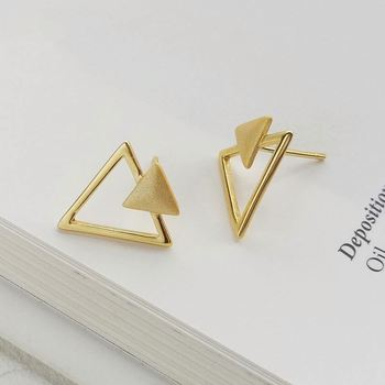 China Wholesale Pure Silver Gold Plated Layered Hollow Geometric Triangle silver Stud Earrings