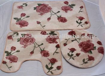 Badkamer Tapijt Badmat : Stuks roze roos badmat tapijt badkamer set buy badmat tapijt