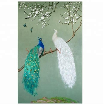 Hand Painted Classical Wall Art Canvas Peacock Picture Oil Painting For Living Room Buy Canvas Oil Painting Peacock Art Picture Wall Art For Living