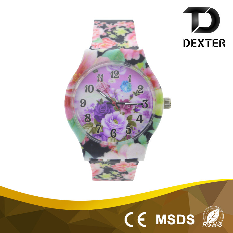 Customized logo promotion color printing dial silicone sports watch