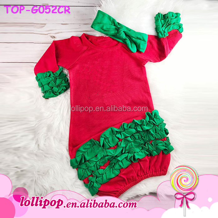 New Infant Ruffle Raglan Gown Christmas Outfit
