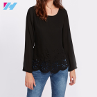 wholesale lady blouse womens fashion sexy open back elegant keyhole hollow out design black long sleeve tops