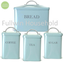 Kitchen Storage Set Of 4 Colorful Metal Square Bread Box and Canister Set
