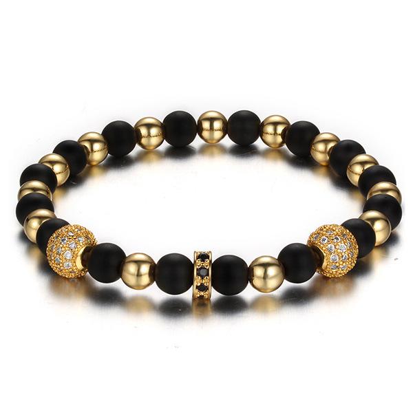 Fashion 6mm Copper Bead 8mm Matte Agate Strand Bracelet 2pcs Micro Pave Clear CZ Round Ball Charm Bracelet, Gold;silver;black;rose gold