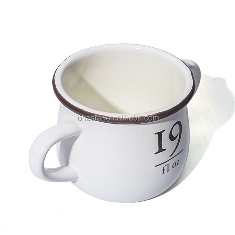 Double handles enamel soup mugs for Children