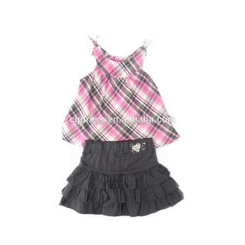 3db97a505fb4 western 2pcs check shirt and ruffle skirt girl dress set for kids children