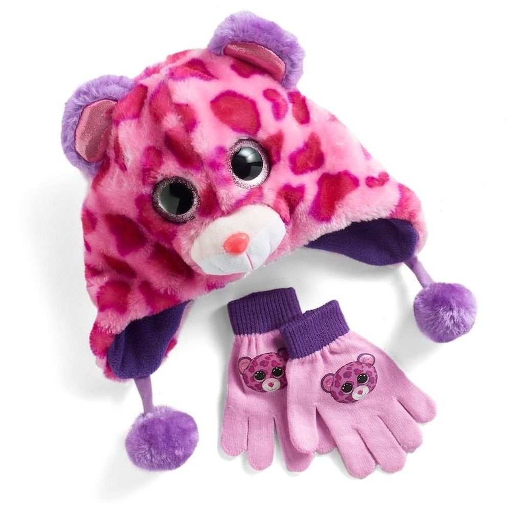 Ty Beanie Boo Glamour Hat And Glove Faux-Fur Plush 3D Leopard Pink Purple Set