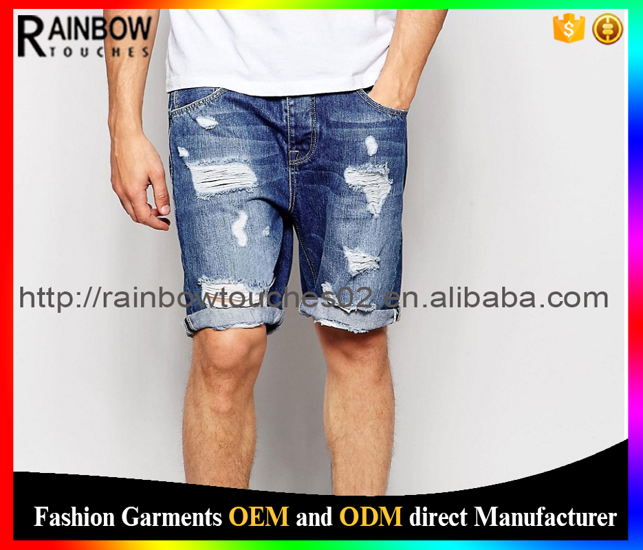 China direct factory Oem service slim fit wash short rips
