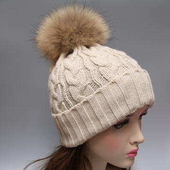 Hot sale acrylic fur ball crochet hat winter fur pom pom beanie hat  wholesale 36a4ce4c757