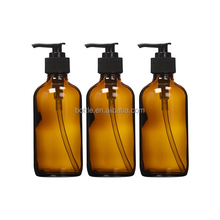 8 oz Amber Glass Lotion / Soap Dispenser Bottle with Black Pump
