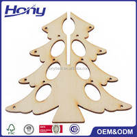 Handmade DIY Wood Crafts Carving Christmas Tree Ornaments Wholesale with Many Holes