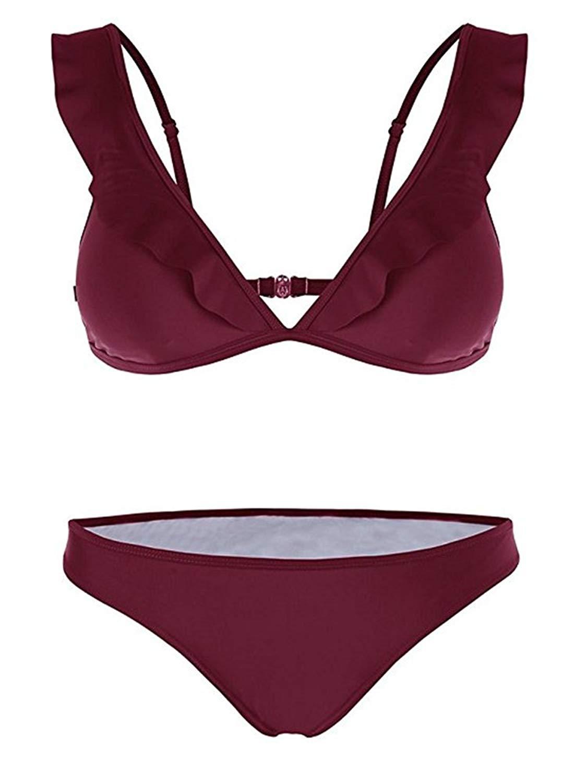 2f1ade54212ac Get Quotations · Huiyuzhi Ruffle Bikini Halter Push up Padded Triangle Cup  Bikini Set 2pcs Swimsuits