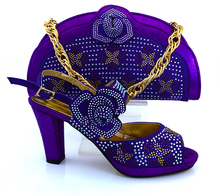 High quality Evening party high heel shoes purple crystal evening shoes matching bag for women