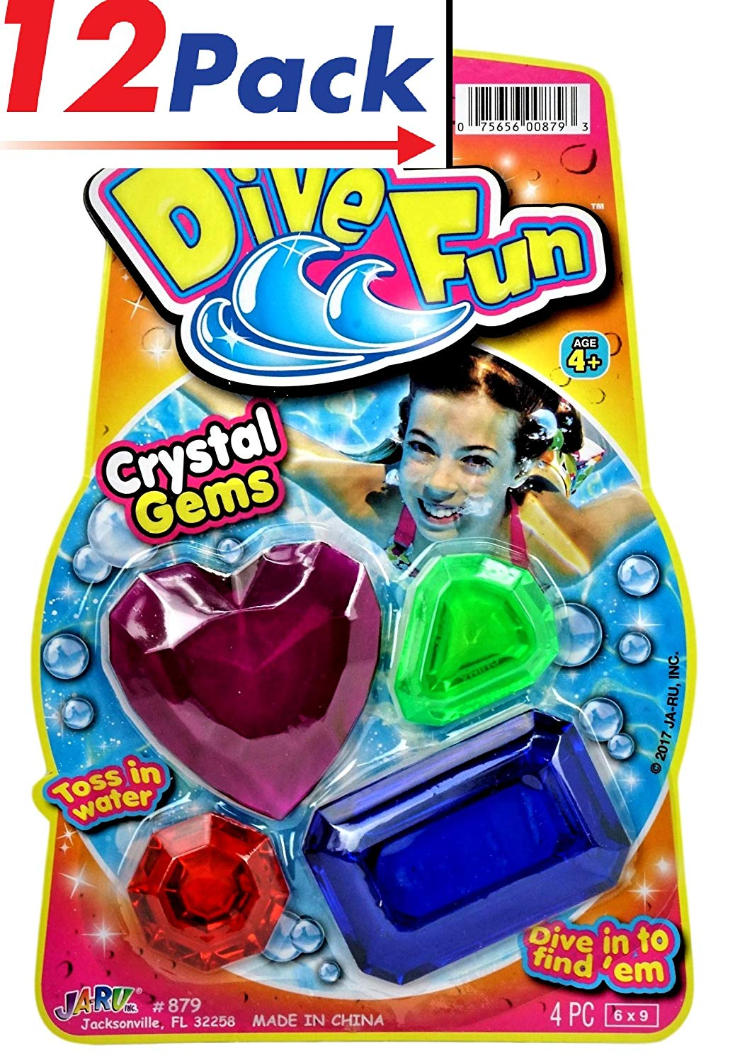 Diving Gems by JA-RU | Swimming Pool Crystal Treasure Chest Dive Toys. Pack of 12 | Item #879