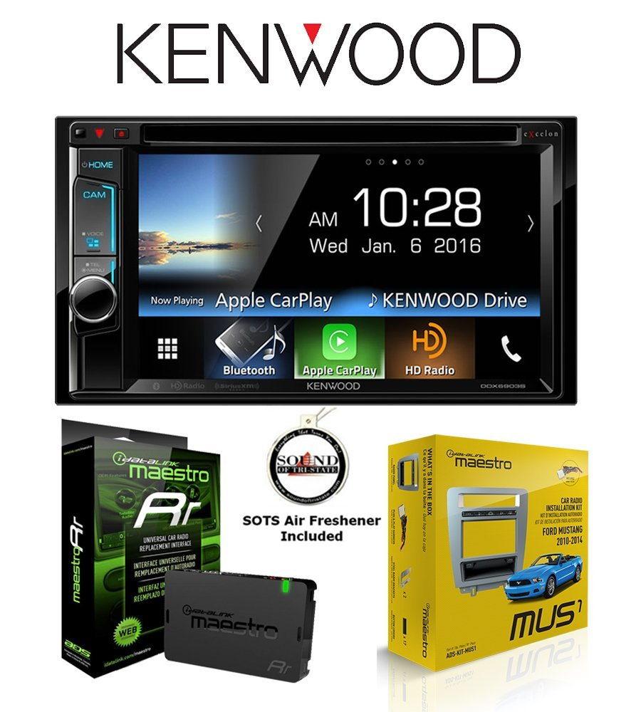 Kenwood DDX6903S DVD Receiver w/ Mustang Kit ADS-KIT-MUS1 and ADS-MRR Steering Wheel Control Interface with a FREE SOTS Air Freshener Included