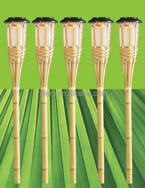 Scintillement Bambou Solaire Jardin Tiki Led Lampe Torche
