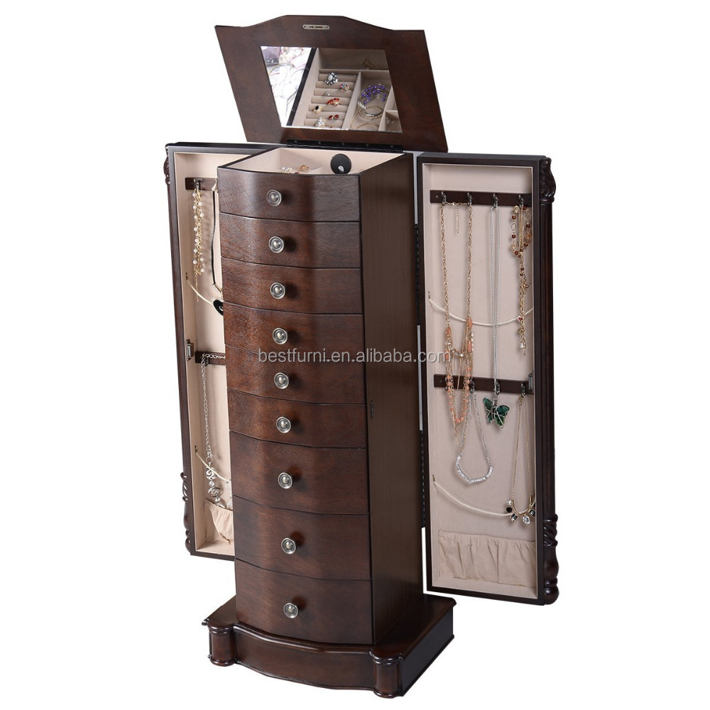 Chinese Factory Espresso Eco-friendly Standing Wood Jewelry Cabinets