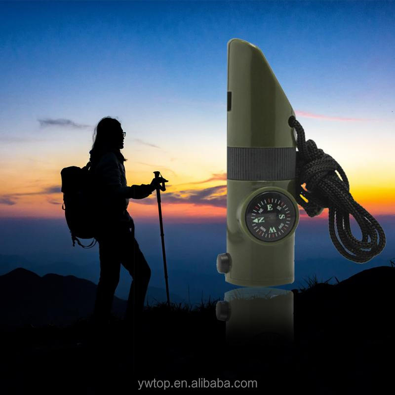 7 in 1 Mini EDC Werkzeug SOS Kit Camping Überlebenspfeife mit Kompass Thermometer