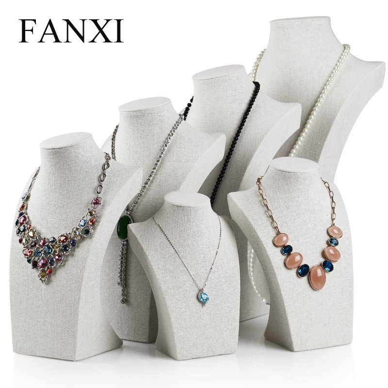 Fanxi China Supplier Tall Jewelry Display Neck Stands Wood Linen ...
