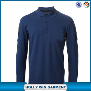 Man middle blue cotton formal golf long sleeve polo t shirt