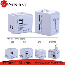 Worldwide Plugs with dual usb port 5v 2100ma Universal multi plug Travel Adapter Supplier
