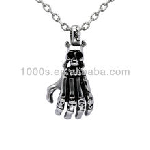 Stainless steel human skeleton hand pendant/charm/necklace