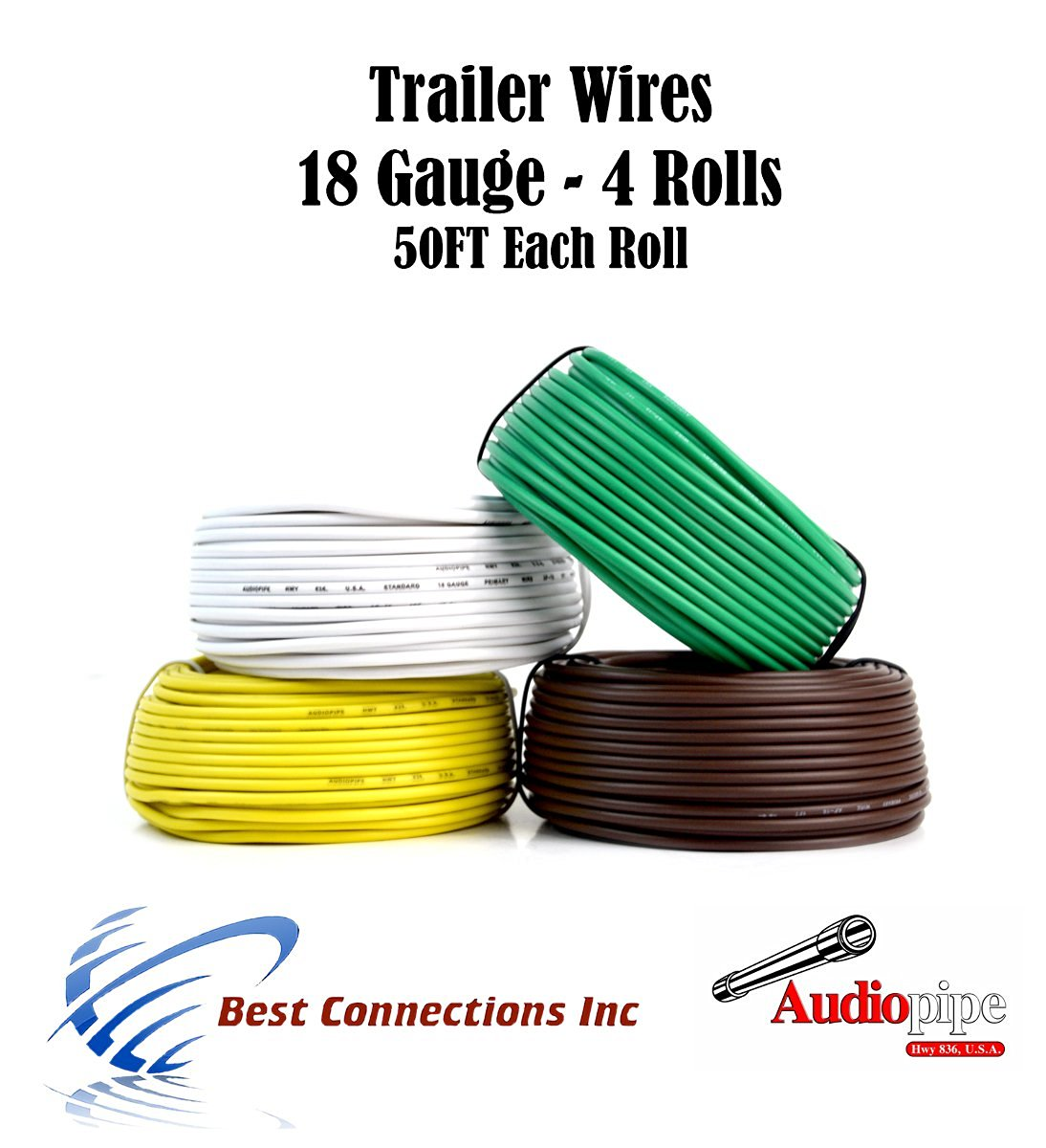 Cheap Wire Colors For Trailer Lights Find Wiring Harness Connect Get Quotations 4 Way Light Cable Led 50ft Each Roll 18 Gauge