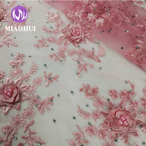 Hot sale high quality india 3d flower beaded embroidery lace fabric for wending dress