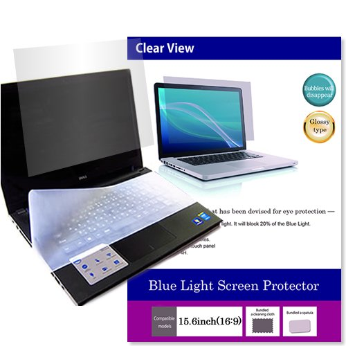 (Media Cover Market)Silicon keyboard cover and a set of Screen Protector[Glossy type] to block the blue light for 15.6 inch square monitor[16:9] models
